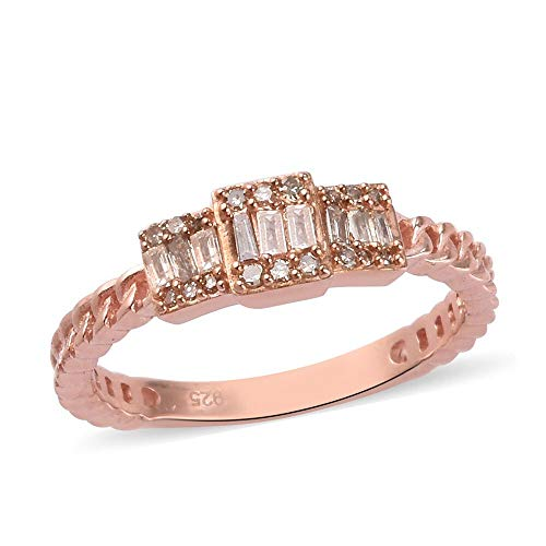 TJC Champagne Diamond Cluster Ring for Womens Wedding/Anniversary Jewellery in Rose Gold Plated 925 Sterling Silver Size P April Birthstone, TCW 0.25ct.