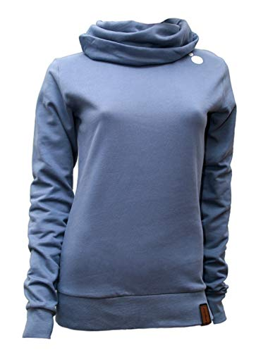 Jumpster Damen Hoodie Turtleneck Sweater Bio-Baumwolle Eco Slim Fit Blue Sulfate Blau S