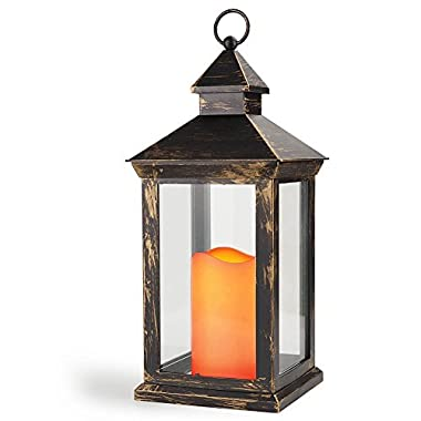 Bright Zeal 14  TALL Vintage Decorative Lantern with LED Pillar Candle (BRONZE, Batteries Included) - Outdoor Lanterns Decorative Hanging - Battery Lantern Candle Holder - Vintage Candle Lantern BZY