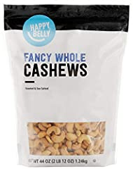 Happy Belly Fancy Whole Cashews have a delicate flavor and a firm texture for a rich, distinct taste Packaging might vary Premium whole Fancy grade cashews are roasted and salted with sea salt One 44-ounce stand-up, resealable bag keeps cashews fresh...
