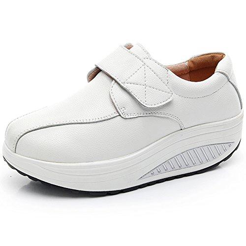 rismart Mujer Cuña Bucle Cómodo Linda Cuero Zapatillas Zapatos SN8787(Blanco,EU38)
