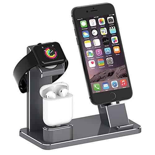XArtfacnt Cargador Inalámbrico Multifunción De Tres En Uno Portátil con Carga Ligera Y De Carga Rápida con Múltiples Protecciones De Seguridad Adecuadas para iPhone/Iwatch/Airpods,Gris