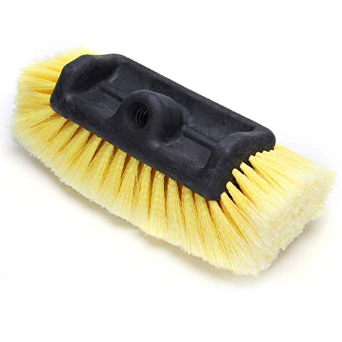 12' Car Wash Brush with Soft Bristle Scrub Brush for Car Truck Boat RV House Siding Deck Camper Exterior Washing Cleaning Yellow