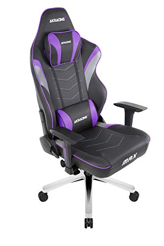 AKRacing Masters Series Max Gaming Chair with Wide Flat Seat, 400 Lbs Weight Limit, Rocker and Seat Height Adjustment Mechanisms with 5/10 Warranty,Indigo -