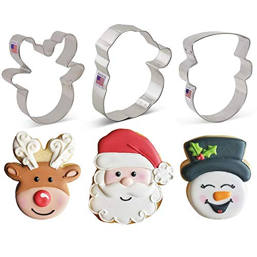 Ann Clark 3-Piece Christmas Linzer Cookie Cutters For Sugar Cookies with Butter Cookie Recipe Booklet