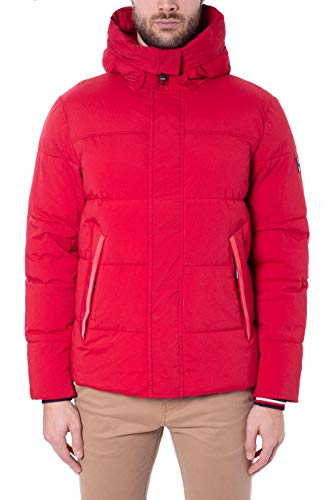 Tommy Hilfiger Stretch Nylon Hooded Bomber Chaqueta, Rojo (Haute Red XBE), X-Small para Hombre