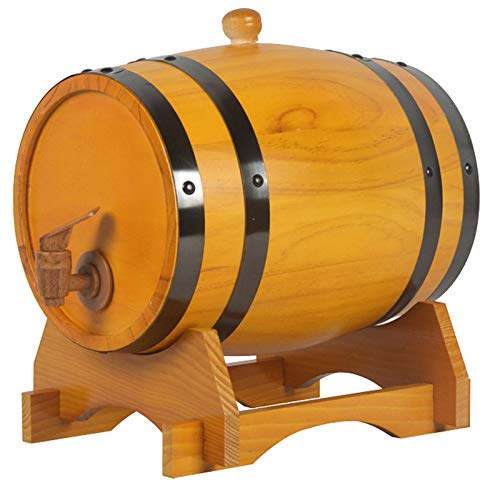 Barril de Madera, Barril Individual de Roble para Whisky O Vino, Barril con Grifo, Tapón y Soporte de Madera, Decoración Romántica para Uso Doméstico Mesa de Comedor,Beige(black),30L