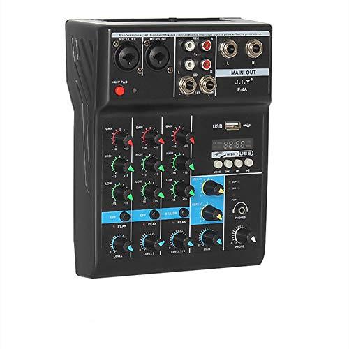 Profesional Mini Mezclador de Audio 4 Canales DJ Controlador Bluetooth USB Reverberación de la Etapa de la Computadora de la Consola de mezcla(4canales)