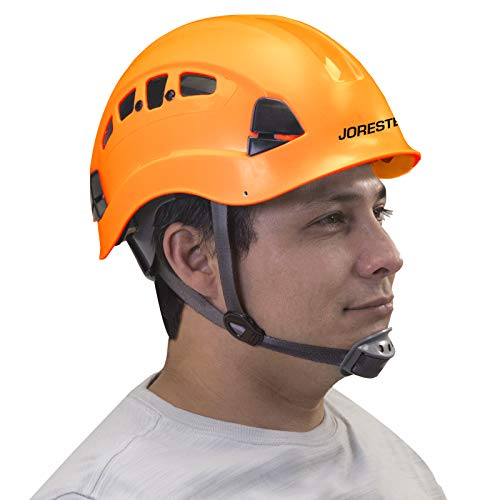 JORESTECH Hard Hat Orange ABS WorkAtHeight and Rescue Slotted Ventilated Helmet with 6Point Ratchet Suspension ANSI Z89114 Certified For Work Home and General Headwear Protection HHAT04