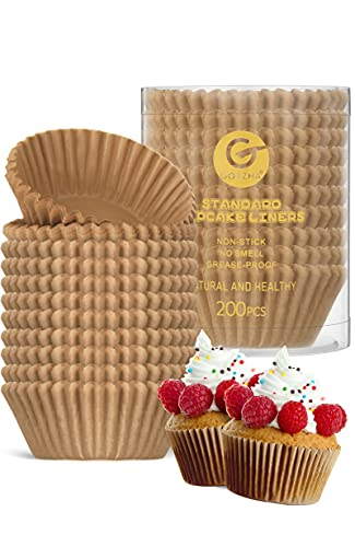 Natural Cupcake Liners Standard Size for Baking, 200 Count Greaseproof Muffin Liners, Nonstick & No Smell Baking Cups, Cupcake Paper for Muffin Cups - GOTZHA