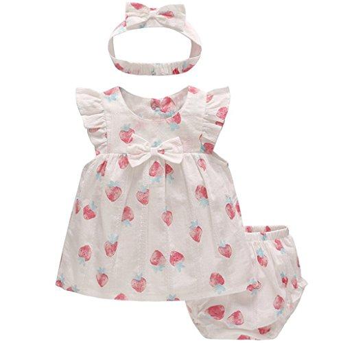 Bebé Niñas Verano Bowknot Vestido de Manga Corta Tops Y Pantalones Cortos con Banda de Pelo, 3 Piezas Conjuntos de Ropa