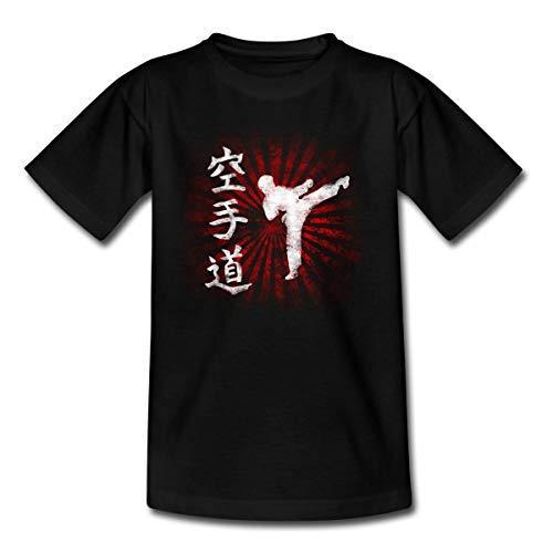 Karatédo Karate Kampfsport Kampfkunst Selbstverteidigung Kinder T-Shirt, 122-128, Schwarz