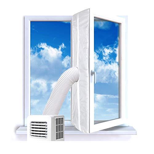 300cm Fensterdichtung für Tragbare Mobile Klimaanlage Fensterlüftungssatz für Wäschetrockner-Luftaustauschschutz mit Reißverschluss und Hakenband