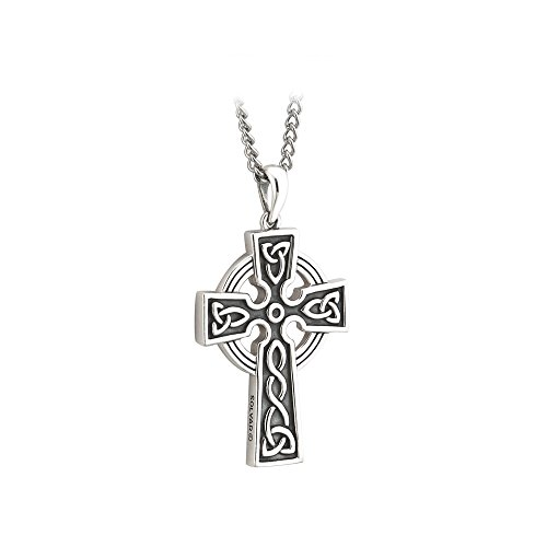 Silver Cross Necklace For Men Oxidized Silver Double Sided Celtic Cross Boys Cross Necklace Silver Cross Pendant Celtic Chain 20' or 24' Rolo Chain Handcrafted by Maker-Partner Solvar in Co. Dublin Ireland