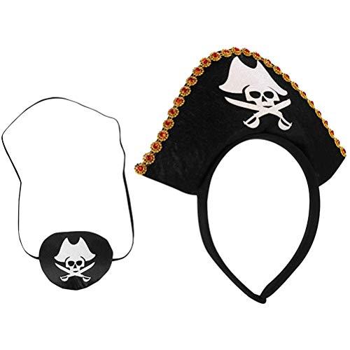Tumnea Sombrero de Pirata Parche en el Ojo Disfraz de Pirata de Halloween Pirata capitán Parche en el Ojo Diamante Esqueleto Sombrero de Pirata Adornos para Fiesta de Halloween