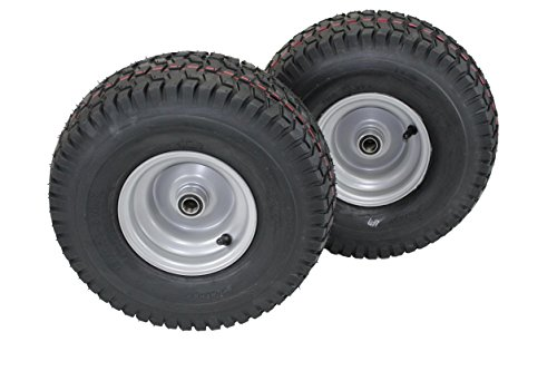 "(Set of 2) 15x6.00-6 Husqvarna/Poulan Tire Wheel Assy .75"" Bearing"