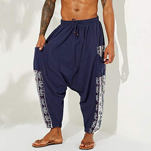 YYMY Alta Cintura Fitness Gran EláSticos Mallas,Pantalón Holgado de Yoga para Hombre, Pantalón harén de Mujer Pantalón Holgado de algodón-XXXL_Blue