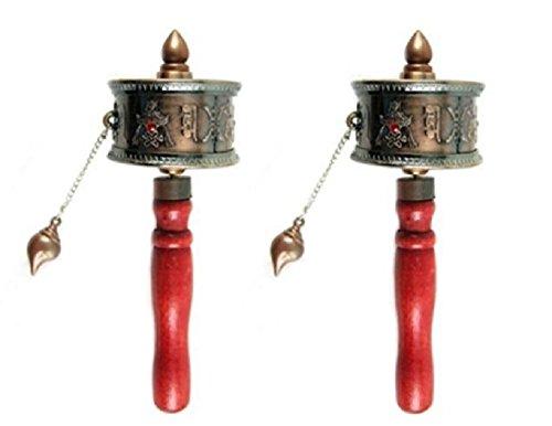 DMtse 2 X Tibetan Buddhist Om Mani Padme Hum Functioning Mini Handheld Prayer Wheel with Mantra Scroll
