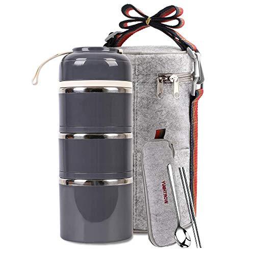 Lunchbox Edelstahl Lebensmittelbehälter 3 stapelbare quadratische Bento-Box mit isolierter Lunchtasche Löffel und Gabel Set für Schule, Büro oder Picknick (grau)