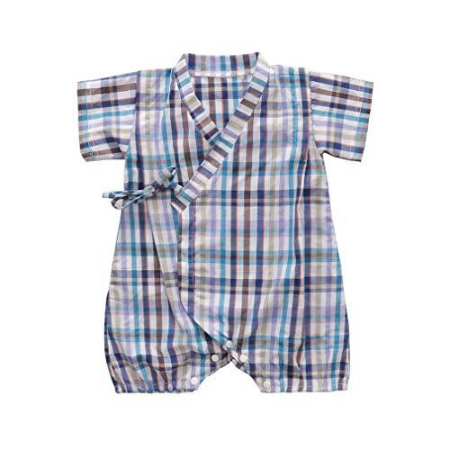 Baby Boy Girl Kimono Robe Romper Pajamas Newborn Infant Yarn Cotton Jumpsuit Nightgowns Sleep (80(6-12 Month), Wathet)