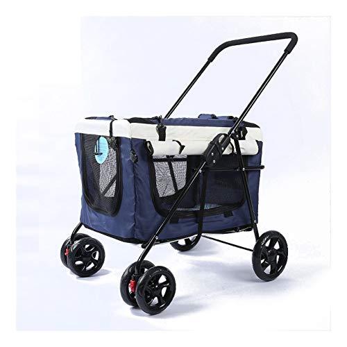 PULLEY Cochecito de perro para perros medianos, portador de gato plegable fácil de caminar para mascotas y gatos con soporte desmontable, cochecito de conejo, capacidad máxima 20 kg