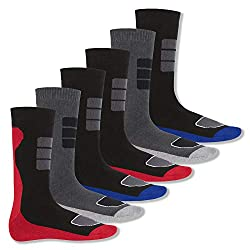 Footstar Men's Winter Socks (6 pair), Warm full terry socks with thermal effect 39-42