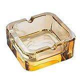 QTQZ Cenicero Cuadrado de Cristal Creativo, Regalo Simple, Oficina en casa Europea, Adornos Interiores y Exteriores, Cenicero Amarillo Transparente con Personalidad