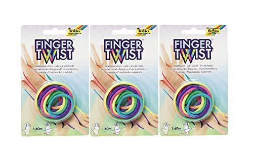 folia 33177 Finger Twist Fadenspiel, in Trendiger Regenbogen-Optik, ca. 160 cm lang, Fingerspiel für Jungen und Mädchen ab 5 Jahre, ideal als kleines Geschenk, Mitgebsel und...