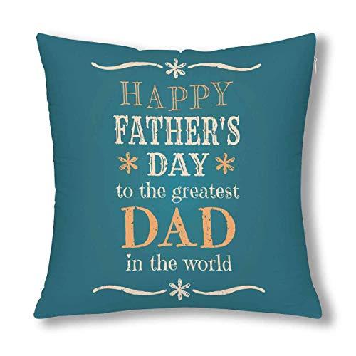 GOSMAO Feliz día del Padre para el papá más Grande del Mundo Decoración Throw Cojín Funda de Almohada, Protector de Funda de Almohada 18 x 18 Pulgadas