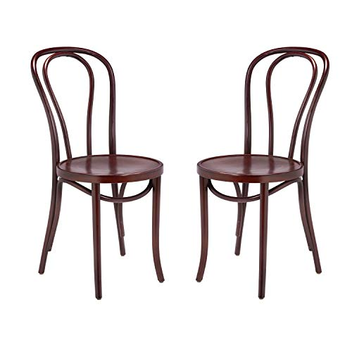 1018 Hairpin Bentwood Chairs, Modern Dining Room, Coffee Shop, Cafe, Kitchen Bistro, or Vanity Seating, Natural Handcrafted Wood Frame, Rustic Indoor Furniture | Mahogany, Set of 2