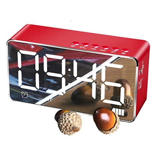 Wekker met bluetooth-luidspreker en FM-radio, draagbare draadloze stereoton-luidspreker, ingebouwde TF-kaart, led-nachtkastje en grote spiegel, dimbare led-display. rood