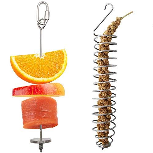 N/ Vogelfutter-Halter, Vogelfutterspender aus Edelstahl, für Papageien, Obst, Gemüse, Futterspieß, Futterspieß, Korbhirse