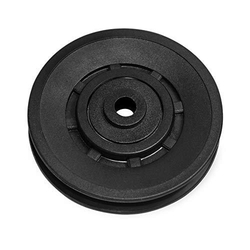 È una ruota comune per la maggior parte delle attrezzature da palestra o da allenamento con i pesi. Diametro interno: 10 mm. Diametro esterno: 90 mm Carico massimo: 500 kg. Spessore: 16 mm Realizzato in materiale super resistente e resistente all'usu...