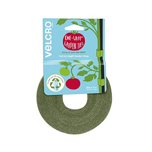 VELCRO Brand VEL-30071-USA ONE-WRAP Garden Ties   Plant Supports for Effective Growing   Strong Grips are Reusable and Adjustable   Cut-to-Length, 50 ft x 1/2 in, Green-Recycled Plastic