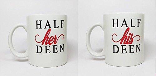 Mug Juego de Tazas Personalizables con Texto en inglés Half Her & Half His Deen