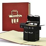 Grillgutschein, Geschenkgutschein, 3D Geburtstagskarte Grillen, Vatertagsgeschenk, BBQ Grill Geschenke für Männer, H20