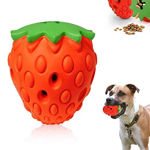 PINPOXE Hundekauspielzeug,KauspielzeugHunde,Hundespielzeuginteraktiv,ReinigenderZähne, LanglebigesNaturkautschukSpielzeug,UnzerstörbareErdbeerform,HundGeschenk