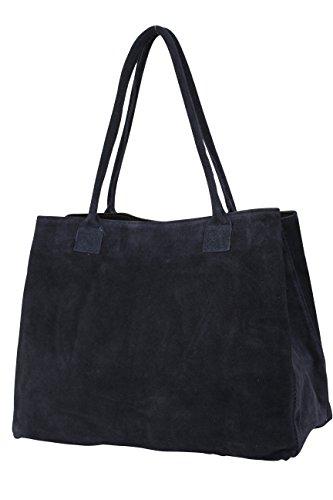 AMBRA Moda Damen Wildleder Handtasche Schultertasche Shopper WL810, Dunkelblau, XL