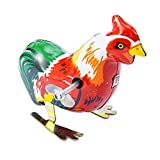 ARTCLUB Jumping Rooster, Cock Metal Animal Winds Up, Steel Tin Toy Collection