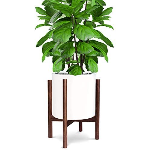"""Honest Mid Century Modern Wood Indoor Plant Stand,(Plant and Pot NOT Included) Rustic Wood Flower Pot Holder, (Fits Pots:8""""-10"""",Dark Brown)"""