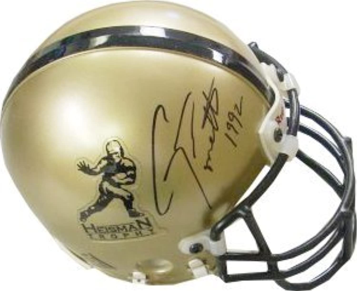 Gino Torretta signed gold Heisman Authentic Mini Helmet 1992 (Miami Hurricanes)  Autographed College Mini Helmets