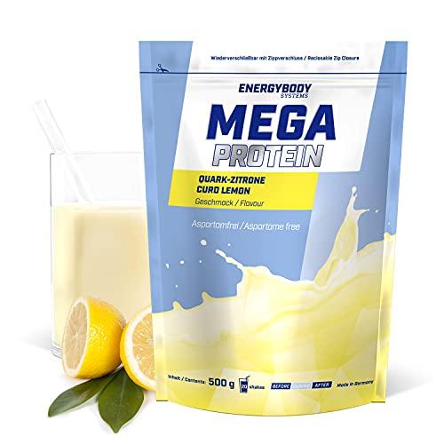 """Energybody Mega Protein """"Quark-Zitrone"""" 500 g / Mehrkomponenten Protein mit Casein Whey Mix als Eiweißshake / Eiweisspulver ohne Aspartam/ Protein-Pulver / 20 Portionen"""