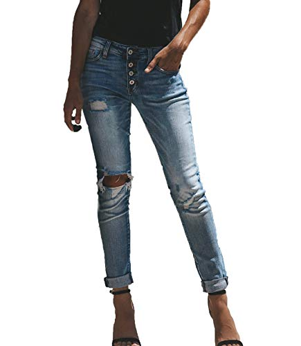 Moceal Jeans Damen Jeanshosen Röhrenjeans Skinny Slim Fit Stretch Stylische Boyfriend Jeans Zerrissene Destroyed Jeans Hose mit Löchern Lässig (XL, 16823Blau3)
