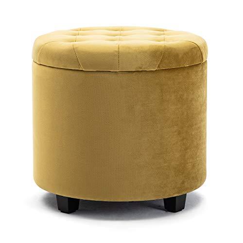 HNNHOME Sitzhocker mit Stauraum, Sitzwürfel mit Deckel, Sitztruhe, Fußbank Truhen Aufbewahrungsbox, Wolken Samt, 45 cm runder Massivholz, 45 L, 45 x 45 x 43 cm (gelb, Samt)