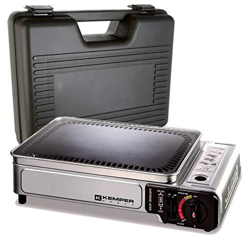 Kemper - Plancha de gas portátil de 2300 W con placa antiadherente y maletín de transporte