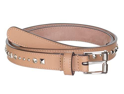 Gucci - Cinturón de piel con tachuelas para mujer, color beige, Beige, 30
