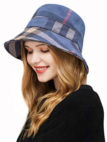 DOCILA Sombrero de tartán a cuadros para mujer, estilo vintage, plegable, para el sol de pescador, C-azul marino , M