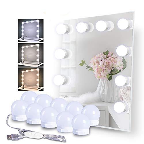 Schminktisch Beleuchtung, Meqlin 3 Farben Schminklicht Hollywood Spiegel Beleuchtung für Kosmetikspiegel, 10 Glühbirnen Dimmbare LED Spiegelleuchte Einfache Montage Anpassung an Jede Spiegelgröße