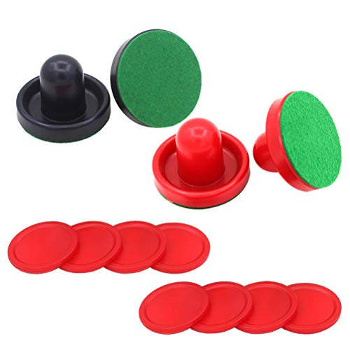 TOYMYTOY Airhockey Pushers Pucks Set, 4 Drücker + 4 Lints + 8 Dunkelblau Pucks