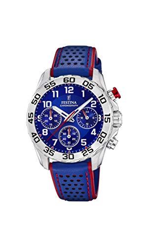 Festina Jungen Chronograph Quarz Uhr mit Leder Armband F20458/2
